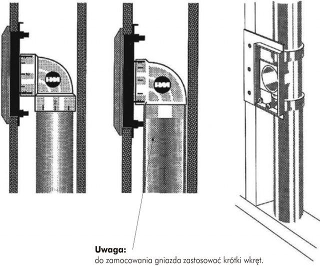 Podłączenie płytki montażowej i gniazda - krótkie kolana i trójnik